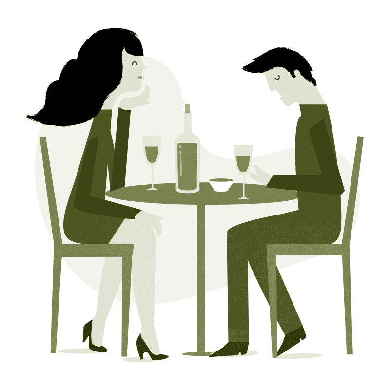 Illustration eines Paares bei Tisch für Emanuel Danesch Psychotherapie